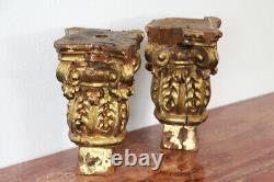 18th Century Set of Two Baroque Gold Leaf Corinthian Capitals From a Portuguese
