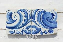 18th Century Set of Two Baroque Tiles depicting Flowers and Rocailles