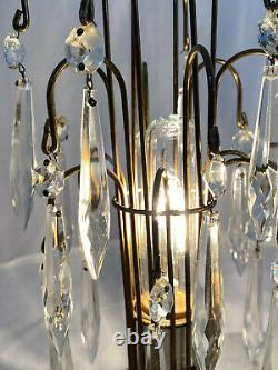 1950s Waterford Style Art Deco Table Lamps With Crystal Prisms Set of Two