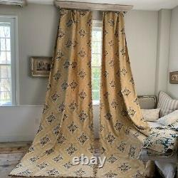 2 Antique French curtains printed linen with yello and blue roses Set of two