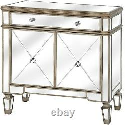 2 X Belfry Collection One Drawer Two Door Mirrored Cupboard (set of 2)