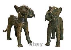 #3367 Superb Benin Leopards Bronze Nigeria African Set of two