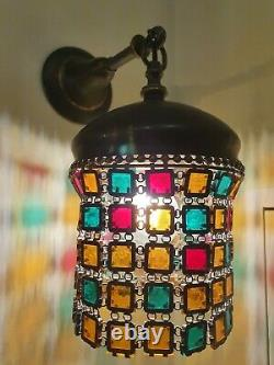 A set of two Tiffany style chain mail sconces