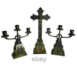 Altar Set Gorgeous Standing Crucifix with two Candelabras Ornate Embossed Brass
