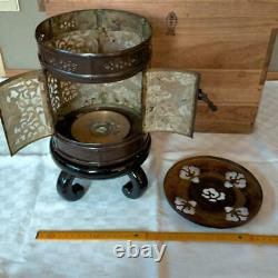 Antique Japanese Brass Lantern-style Candle Holder Set Of Two Pieces (With Box)
