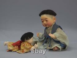 Antique Japanese ichimatsu doll A set of two baby dolls Japanese doll y