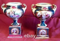Antique Old Vintage Porcelain Pair of Two 2 Urns Vases Set Royal Old Vienna