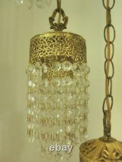 Antique Rare Set of two Hollywood Hanging Crystal Lamps, Five lights on each