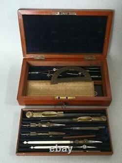 Antique Two Tier Elliott Brothers Draughtsman Set in Fitted Mahogany Case c1880