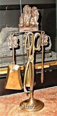 Antique original European Complete Fireplace Brass Tool Set Two Spaniels Motif