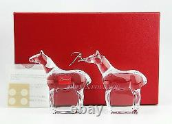Baccarat Crystal Noah's Arc Set Of Two Horse Figurines New Handmade France