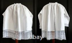 Beautiful set of two surplices with tulle lace underside superplie superpellicum
