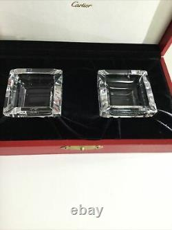 Cartier Very Rare Set of Two Crystal Ashtrays with Original Box