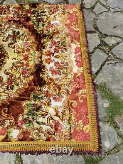 Cherub velvet set, velvet bedspread and two pillow cases, vintage velvet quilt