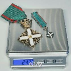 Circa 1960 Italian Republic Order of Merit Commander Cross Two Piece Medal Set