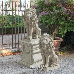 Design Toscano Mansfield Manor Lion Sentinel Statue Set of Two