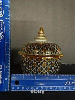 Estate Intricate Benjarong Matching Porcelain Lidded Jars Containers Set of TWO