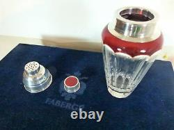 Faberge Grand Duke Martini Shaker Silver & Crystal & TWO GLASS SET with Case & Lid