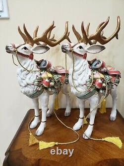 Fitz & Floyd Enchanted Holiday Deer Reindeer Figurine Set Of Two