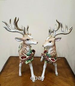 Fitz & Floyd Florentine Christmas Deer Reindeer Figurine Set Of Two