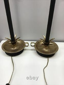 Fredrick Cooper Vintage Brass And Black Buffet Lamps 30.5 Set Of Two