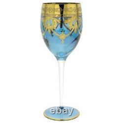 GlassOfVenice Set of Two Murano Glass Wine Glasses 24K Gold Leaf Blue