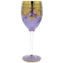 GlassOfVenice Set of Two Murano Glass Wine Glasses 24K Gold Leaf Purple