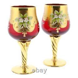 GlassOfVenice Set of Two Murano Glass Wine Glasses 24K Gold Leaf Red
