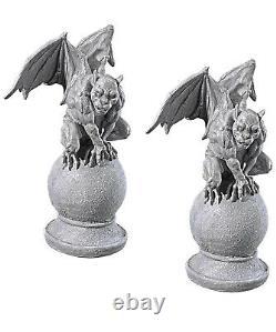 Halloween prop decor Set of Two Malicious Gargoyle Statues (a)