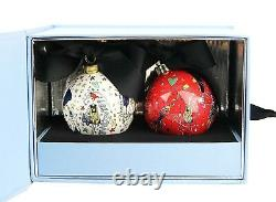 Lanvin Porcelain Set Of Two Ball Christmas Ornament In Original Blue Box New