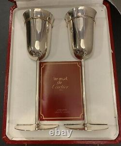 Les Must de Cartier Trinity Sterling Silver Wedding Toasting Flutes Set Of Two