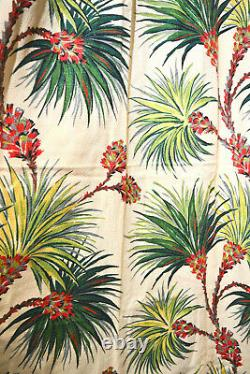 MID Century Tropical Exotica Barkcloth Drapery Curtains, Set Of 4/two Pairs