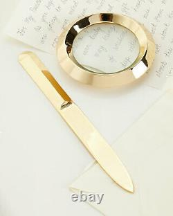 NIB $290 Two-Piece AERIN ARCHER MAGNIFYING GLASS AND LETTER OPENER BRASS SET