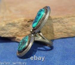 Navajo Sterling Silver Ring with Two Turquoise Settings c. 1970 Size 7