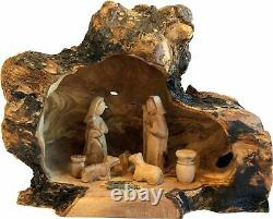 Olive Wood Nativity Set with Carved in by Hand Rustic Stable no Two Alike Large