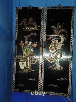 Oriental Asian Carved Mother Of Pearl Black Lacqured Panels Set Of Two