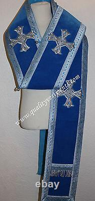 Orthodox Bishop Vestment Omophors German Blue Velvet set of two Silver crosses