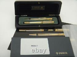 PARKER Duofold International Prototype Model B Pinstriped Two Tone Set FP + BP