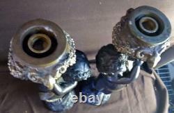 Pair of Two Bronze Cherub Putti Candlesticks Figural Statues Art Sculpture Set