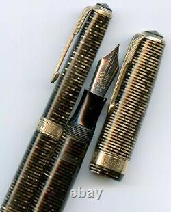 Parker Vacumatic Maxima Pen & Pencil Set, XF Two-Tone Flexible Nib, Gold/Brown
