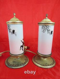 RARE Antique DeVilbiss Glass Art Deco Perfume Dancy Lady Fairy Lamps Set of Two
