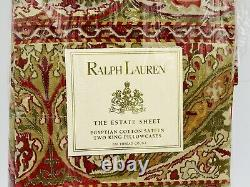 Ralph Lauren Randolph Red Two King Pillowcases Set Estate Home Collection NEW