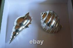 Set Of Two Christofle Paper Weights Seashell Sculptures Silver Plated Hallmarked