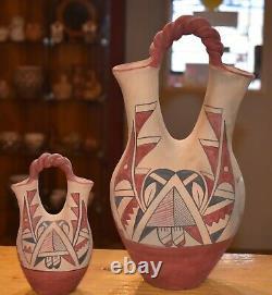 Set Of Two Vintage Jemez Pueblo Wedding Vases/handcoiled/ Free Shipping