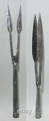 Set of two rare antique Ethiopian two-pronged (bident) spear heads, 1900, Africa
