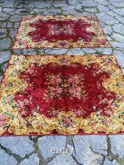 Set of two vintage, high quality Italian velvet bedspread, similar size