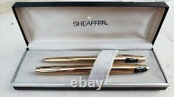 Sheaffer 797 Imperial Gold Plated Fountain Pen Set Of Two Pens Mint