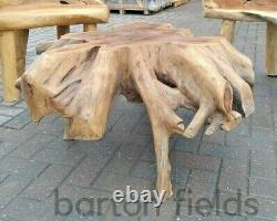 Spider Table & Two Chair Set, Unusual Reclaimed Teak Garden Furniture, Collected