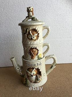 Tea for Two VINTAGE OWL SET Stackable coffee pot & cups tree house Japan