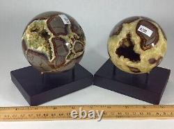 Top Quality Set Of Two Hollow Septarian Nodule Spheres from Utah